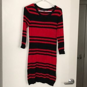 French Connection sz 6 Black and red striped dress